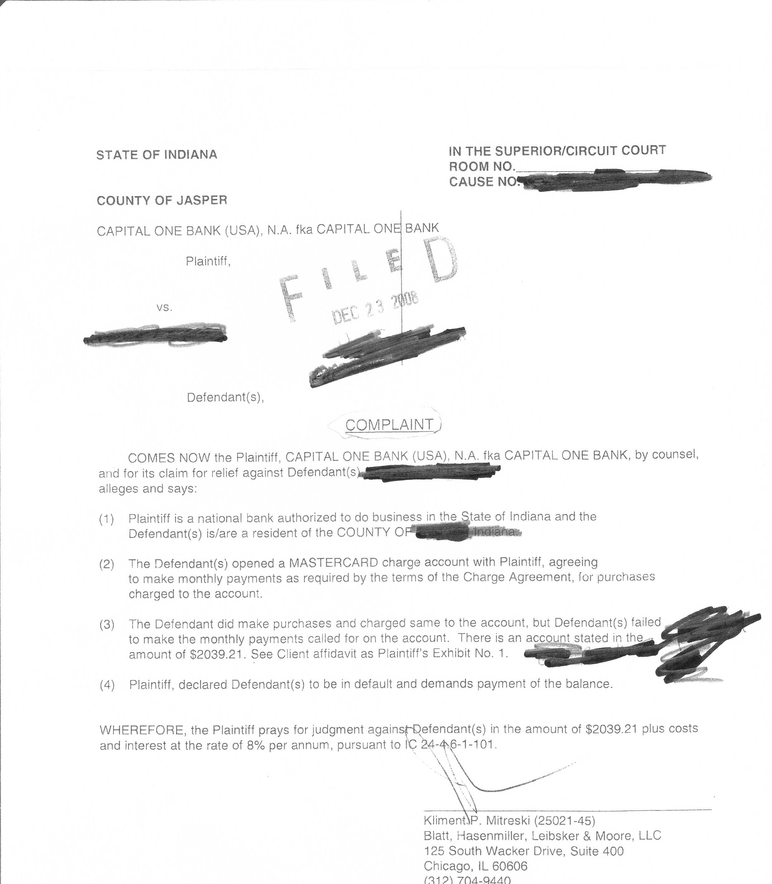 Capital One: Affidavit of Debt Page 1